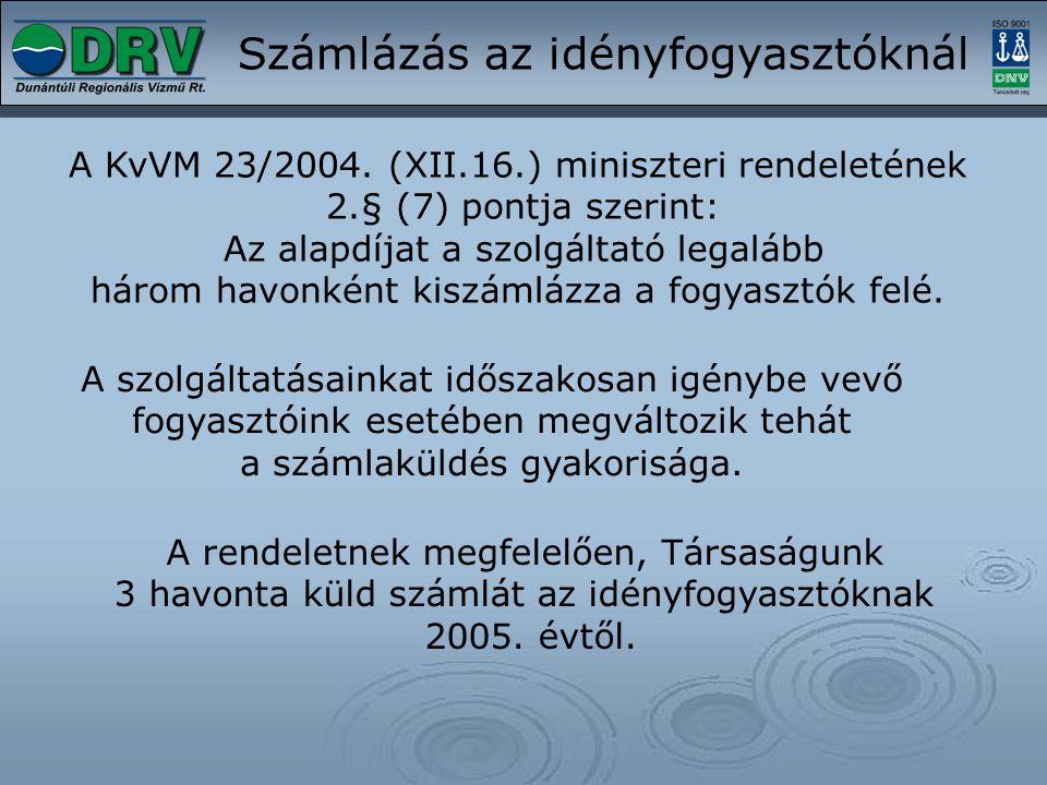 Számlázás az idényfogyasztóknál A KvVM 23/2004. (XII.16.) miniszteri rendeletének 2.§ (7) pontja szerint: Az alapdíjat a szolgáltató legalább három ha