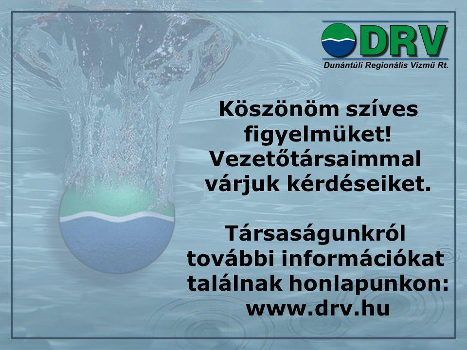 Köszönöm szíves figyelmüket! Vezetőtársaimmal várjuk kérdéseiket. Társaságunkról további információkat találnak honlapunkon: www.drv.hu