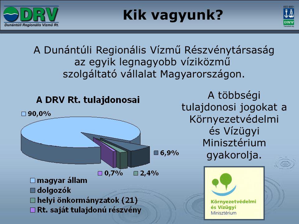Kik vagyunk? A Dunántúli Regionális Vízmű Részvénytársaság az egyik legnagyobb víziközmű szolgáltató vállalat Magyarországon. A többségi tulajdonosi j