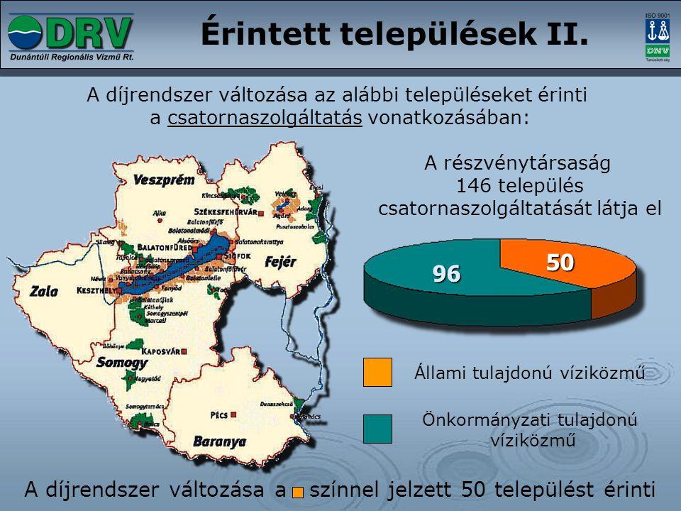 A díjrendszer változása az alábbi településeket érinti a csatornaszolgáltatás vonatkozásában: A részvénytársaság 146 település csatornaszolgáltatását