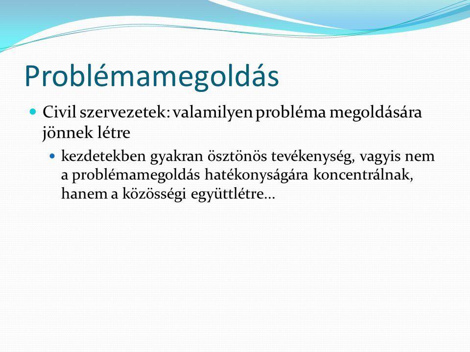 Problémamegoldás Civil szervezetek: valamilyen probléma megoldására jönnek létre kezdetekben gyakran ösztönös tevékenység, vagyis nem a problémamegold