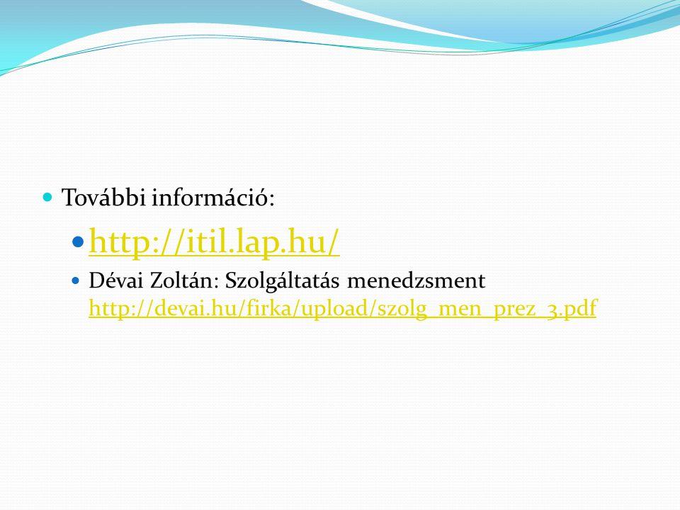 További információ: http://itil.lap.hu/ Dévai Zoltán: Szolgáltatás menedzsment http://devai.hu/firka/upload/szolg_men_prez_3.pdf http://devai.hu/firka