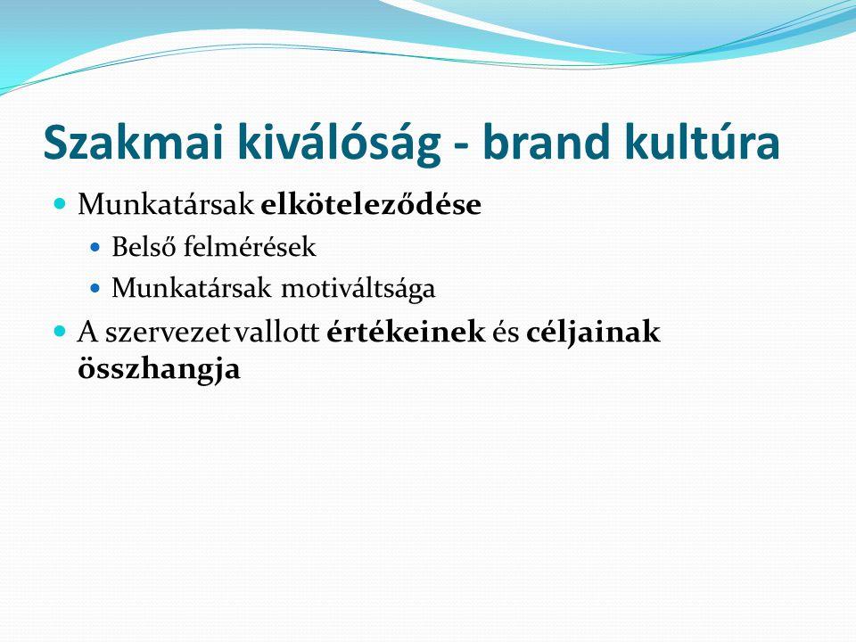 Szakmai kiválóság - brand kultúra Munkatársak elköteleződése Belső felmérések Munkatársak motiváltsága A szervezet vallott értékeinek és céljainak öss