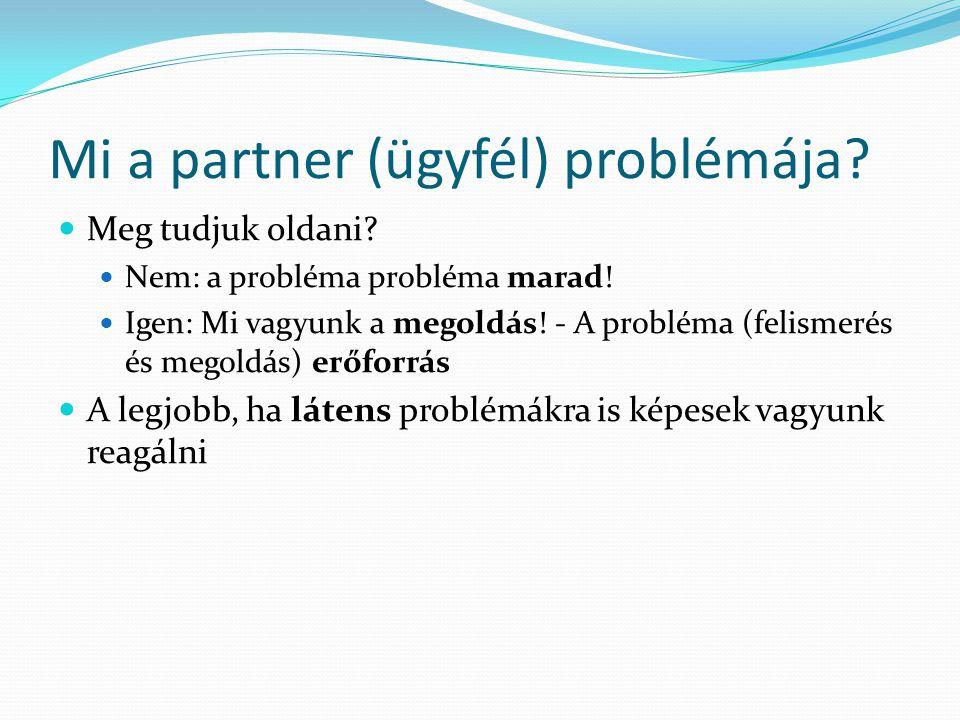 Mi a partner (ügyfél) problémája? Meg tudjuk oldani? Nem: a probléma probléma marad! Igen: Mi vagyunk a megoldás! - A probléma (felismerés és megoldás