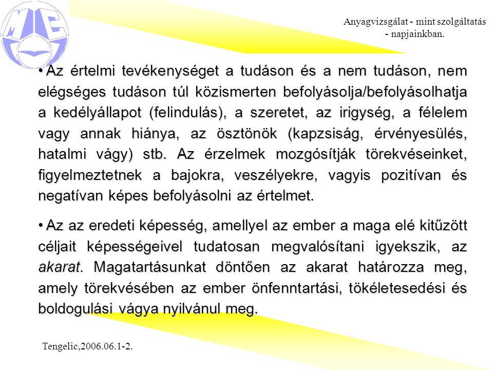 Tengelic,2006.06.1-2. Anyagvizsgálat - mint szolgáltatás - napjainkban. Az értelmi tevékenységet a tudáson és a nem tudáson, nem elégséges tudáson túl