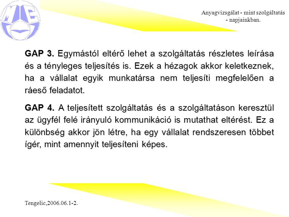 Tengelic,2006.06.1-2. Anyagvizsgálat - mint szolgáltatás - napjainkban. GAP 3. Egymástól eltérő lehet a szolgáltatás részletes leírása és a tényleges
