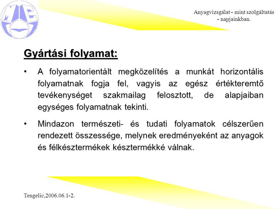 Tengelic,2006.06.1-2. Anyagvizsgálat - mint szolgáltatás - napjainkban. Gyártási folyamat: A folyamatorientált megközelítés a munkát horizontális foly