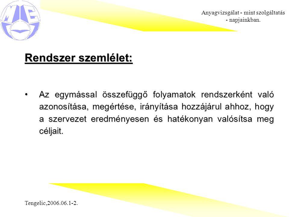 Tengelic,2006.06.1-2.Anyagvizsgálat - mint szolgáltatás - napjainkban.