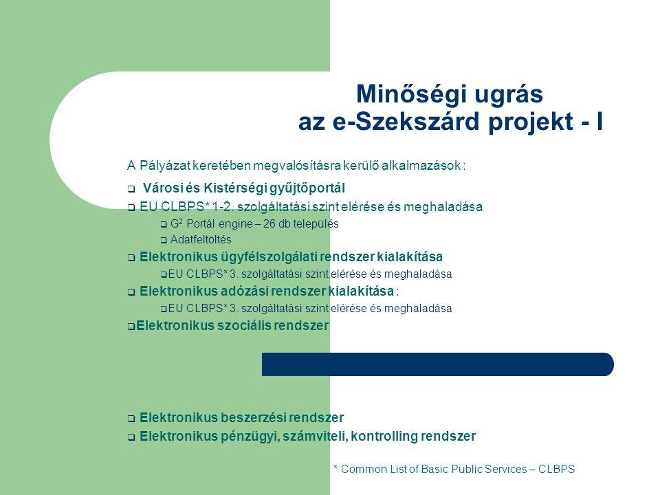 Minőségi ugrás az e-Szekszárd projekt - I A Pályázat keretében megvalósításra kerülő alkalmazások :  Városi és Kistérségi gyűjtőportál  EU CLBPS* 1-