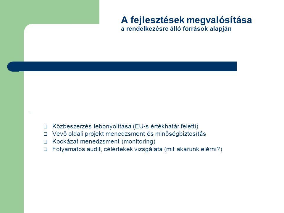 A fejlesztések megvalósítása a rendelkezésre álló források alapján.  Közbeszerzés lebonyolítása (EU-s értékhatár feletti)  Vevő oldali projekt mened