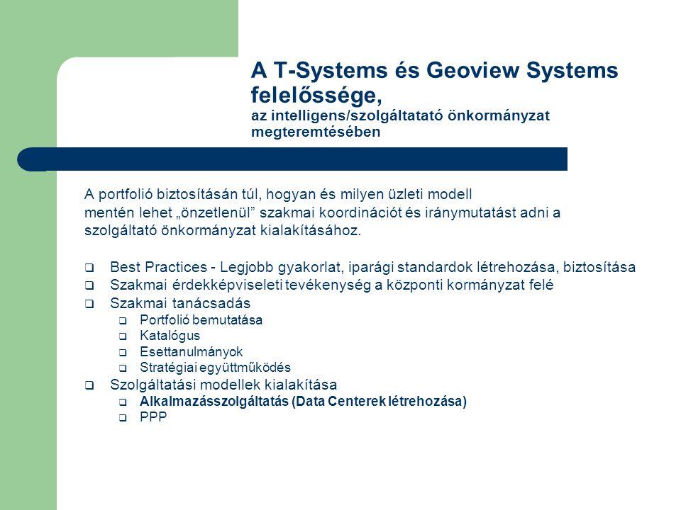 A T-Systems és Geoview Systems felelőssége, az intelligens/szolgáltatató önkormányzat megteremtésében A portfolió biztosításán túl, hogyan és milyen ü