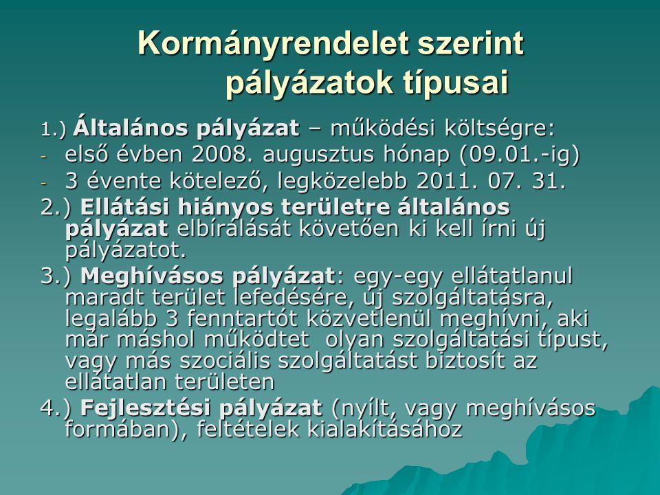 Kormányrendelet szerint pályázatok típusai 1.) Általános pályázat – működési költségre: - első évben 2008. augusztus hónap (09.01.-ig) - 3 évente köte