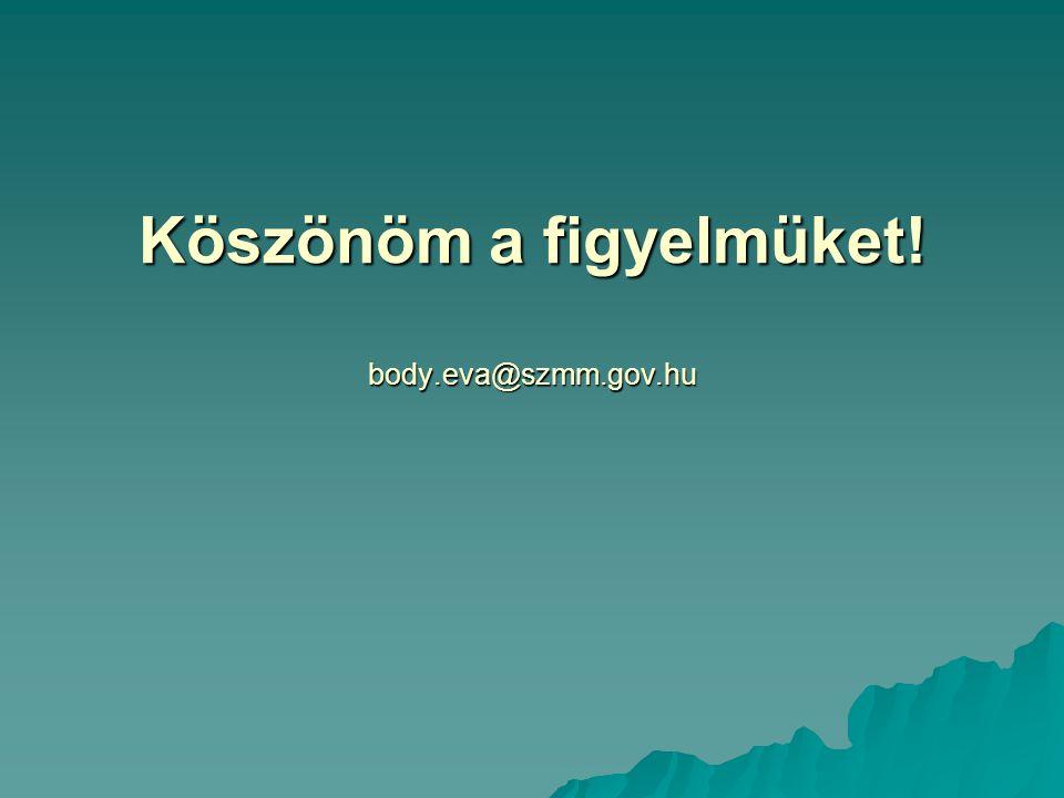Köszönöm a figyelmüket! body.eva@szmm.gov.hu