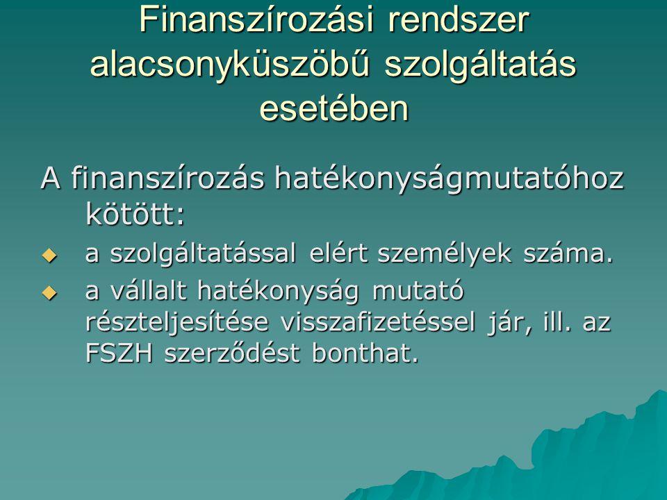 Finanszírozási rendszer alacsonyküszöbű szolgáltatás esetében A finanszírozás hatékonyságmutatóhoz kötött:  a szolgáltatással elért személyek száma.