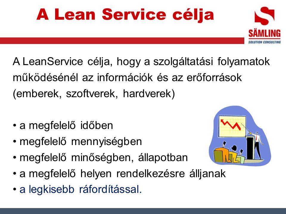 A Lean Service célja A LeanService célja, hogy a szolgáltatási folyamatok működésénél az információk és az erőforrások (emberek, szoftverek, hardverek