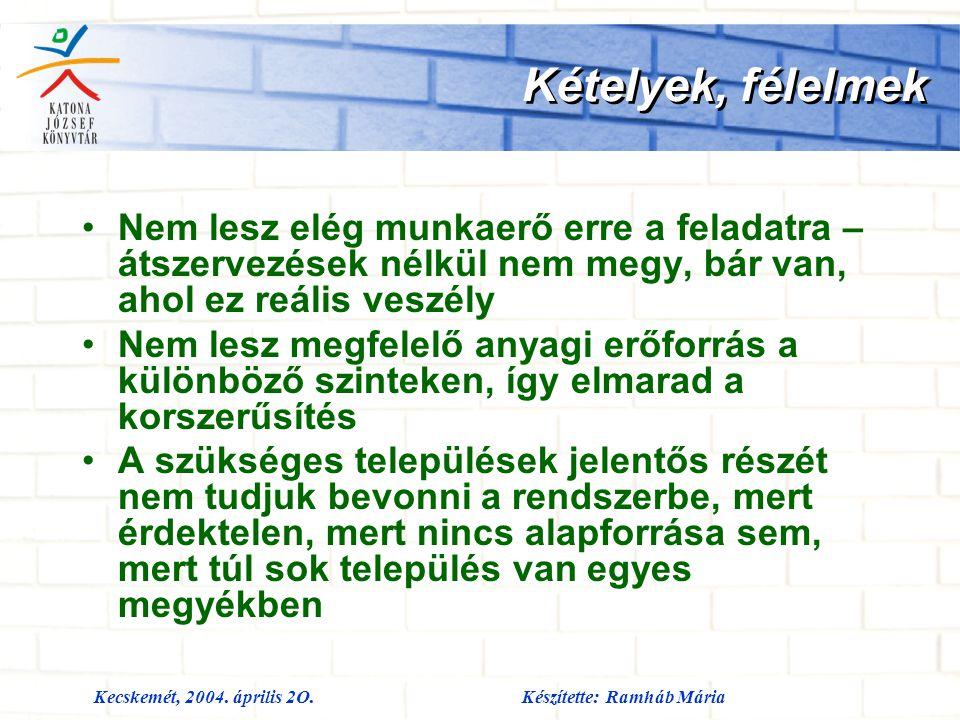 Kecskemét, 2004. április 2O.Készítette: Ramháb Mária Kételyek, félelmek Nem lesz elég munkaerő erre a feladatra – átszervezések nélkül nem megy, bár v