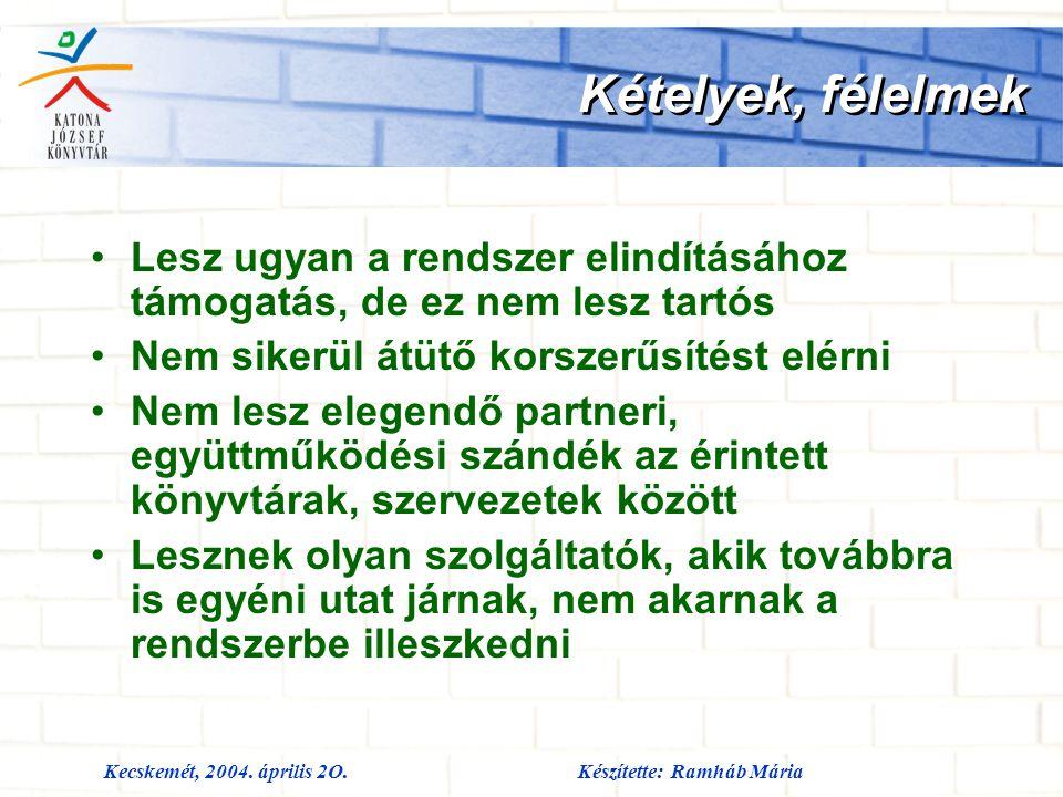 Kecskemét, 2004. április 2O.Készítette: Ramháb Mária Kételyek, félelmek Lesz ugyan a rendszer elindításához támogatás, de ez nem lesz tartós Nem siker
