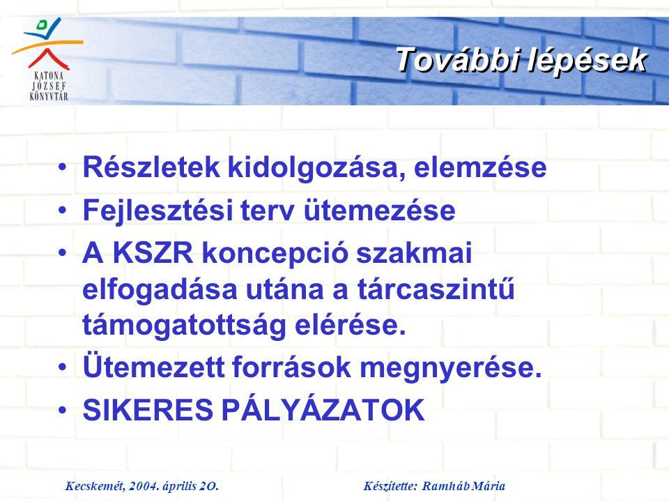 Kecskemét, 2004. április 2O.Készítette: Ramháb Mária További lépések Részletek kidolgozása, elemzése Fejlesztési terv ütemezése A KSZR koncepció szakm