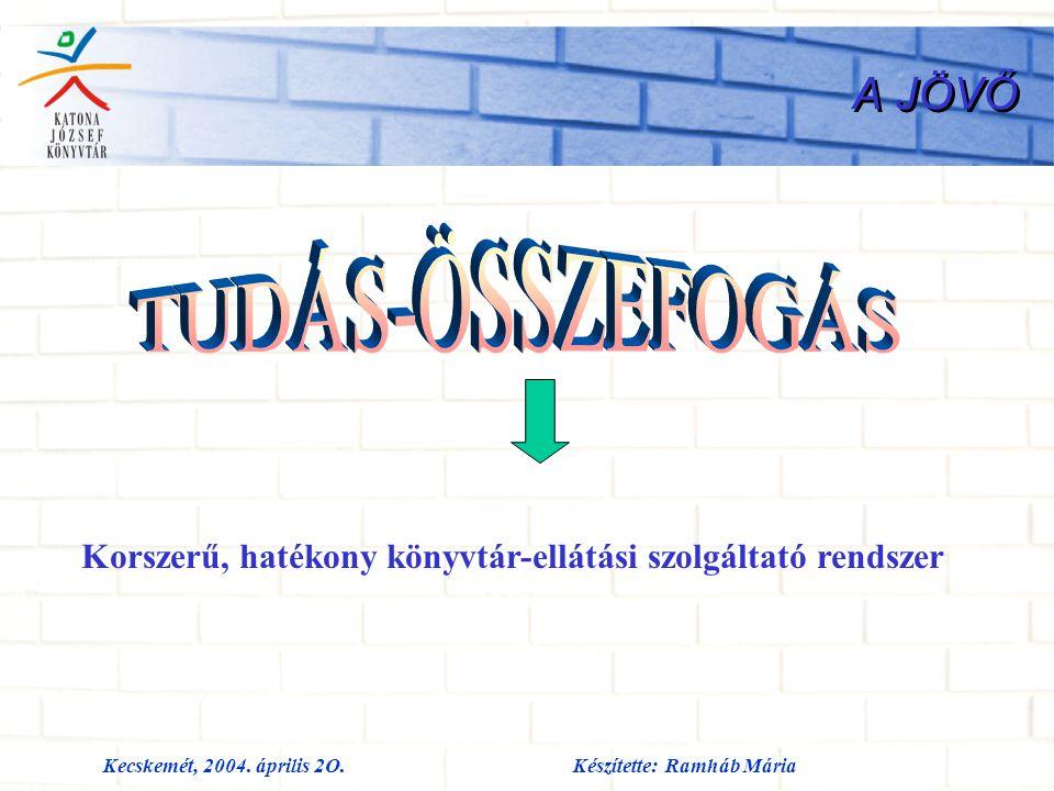 Kecskemét, 2004. április 2O.Készítette: Ramháb Mária A JÖVŐ Korszerű, hatékony könyvtár-ellátási szolgáltató rendszer