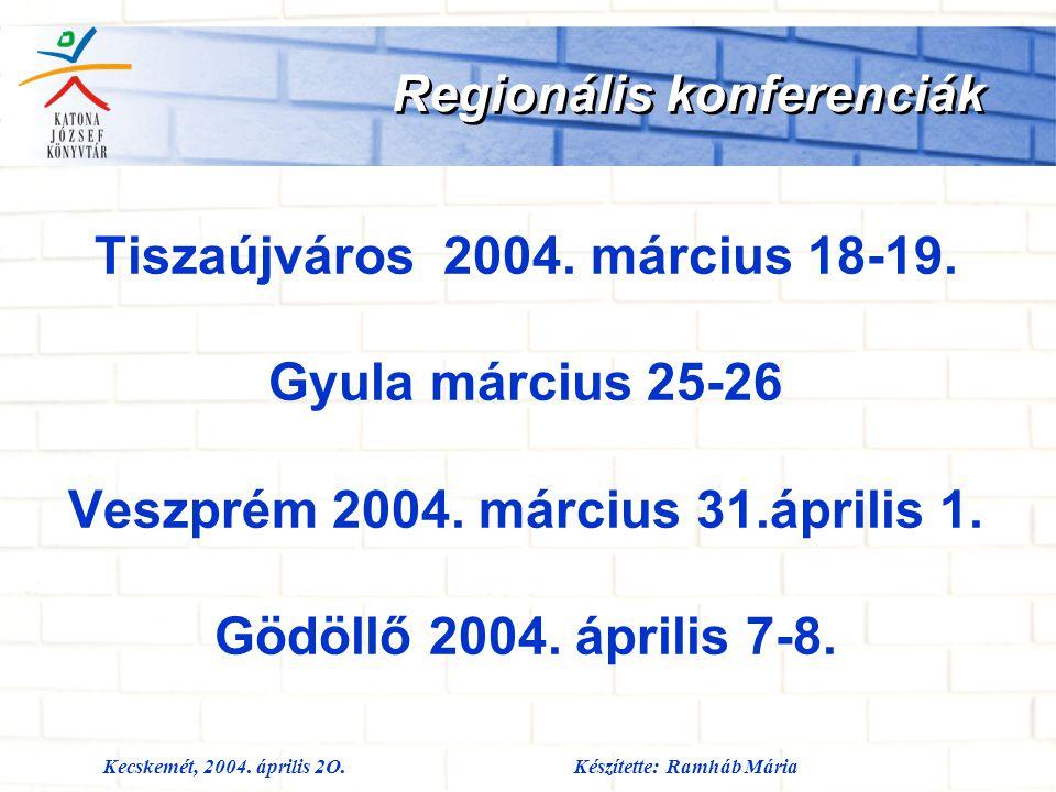 Kecskemét, 2004. április 2O.Készítette: Ramháb Mária Regionális konferenciák Tiszaújváros 2004. március 18-19. Gyula március 25-26 Veszprém 2004. márc