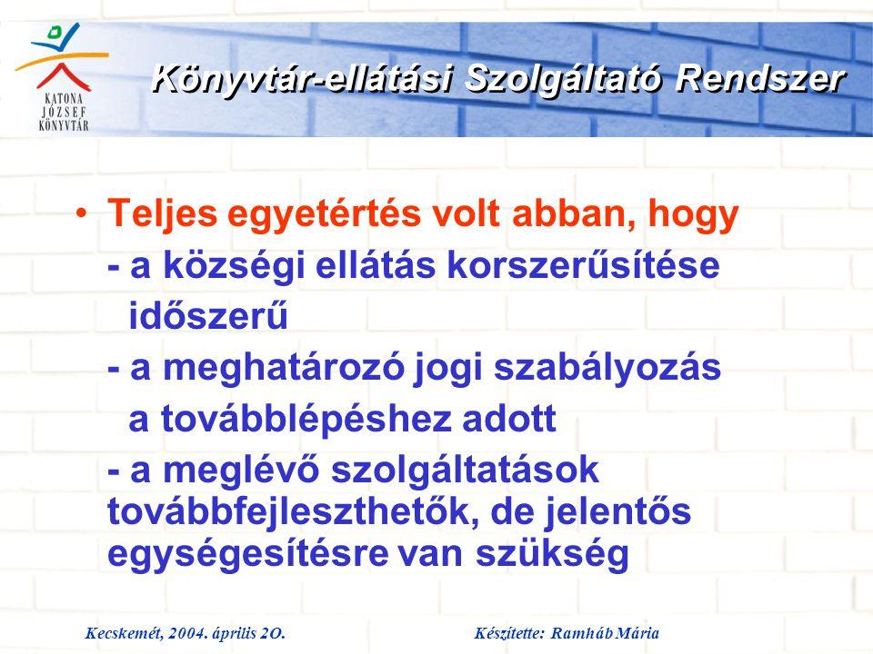 Kecskemét, 2004. április 2O.Készítette: Ramháb Mária Könyvtár-ellátási Szolgáltató Rendszer Teljes egyetértés volt abban, hogy - a községi ellátás kor