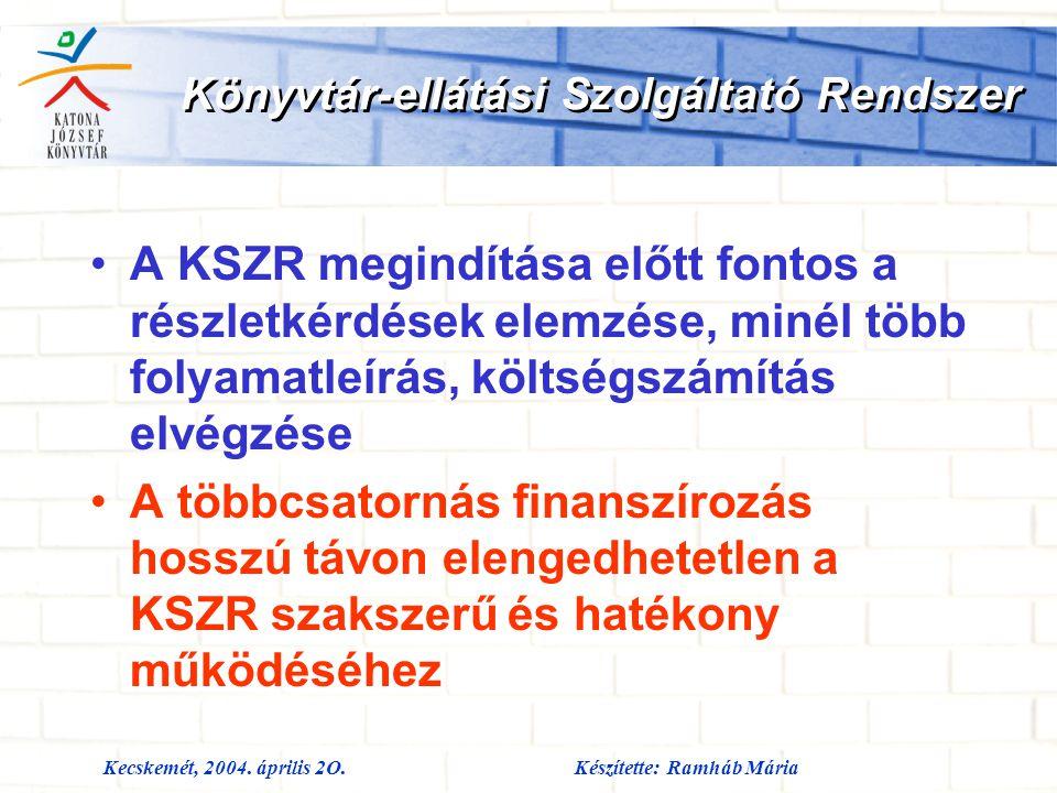 Kecskemét, 2004. április 2O.Készítette: Ramháb Mária Könyvtár-ellátási Szolgáltató Rendszer A KSZR megindítása előtt fontos a részletkérdések elemzése