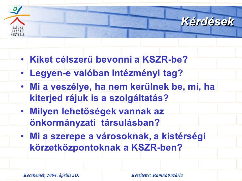 Kecskemét, 2004. április 2O.Készítette: Ramháb Mária Kérdések Kiket célszerű bevonni a KSZR-be? Legyen-e valóban intézményi tag? Mi a veszélye, ha nem