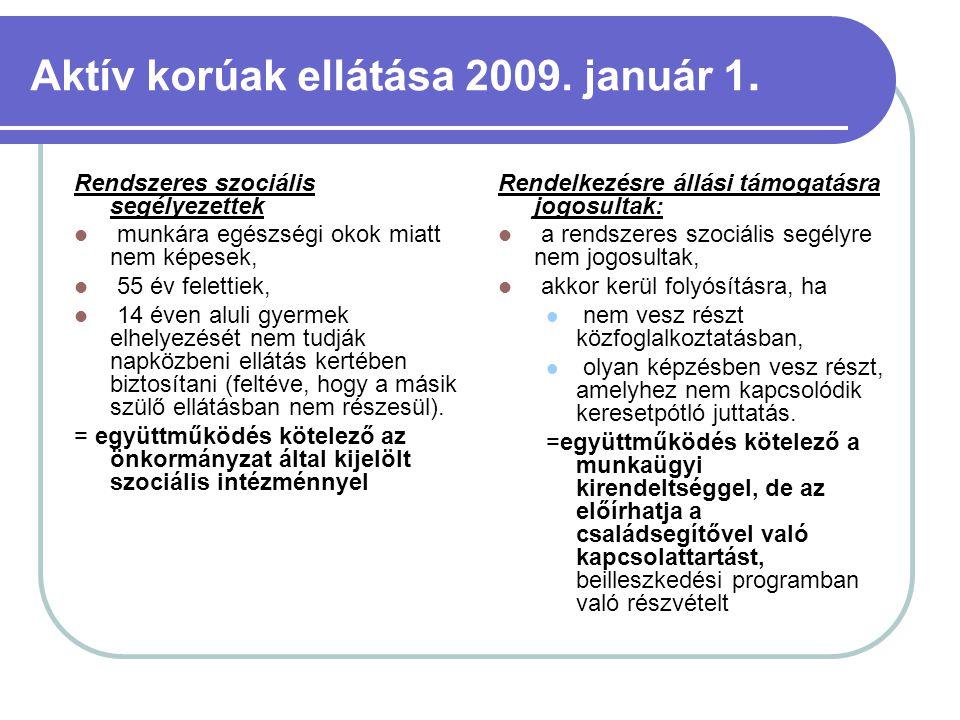 Aktív korúak ellátása 2009. január 1. Rendszeres szociális segélyezettek munkára egészségi okok miatt nem képesek, 55 év felettiek, 14 éven aluli gyer
