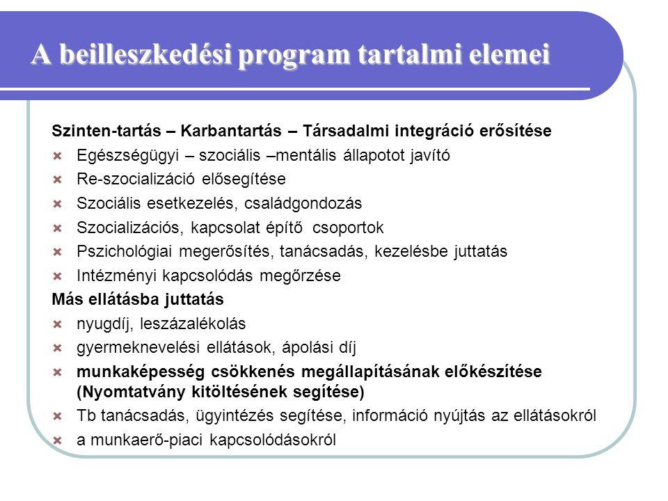 A beilleszkedési program tartalmi elemei A beilleszkedési program tartalmi elemei Szinten-tartás – Karbantartás – Társadalmi integráció erősítése  Eg