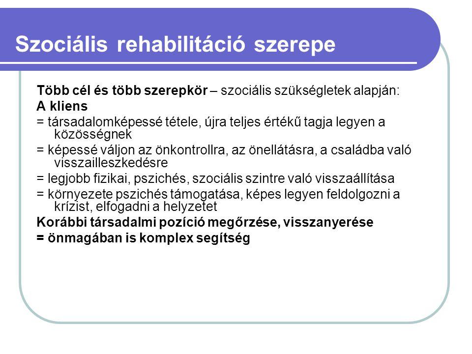 Szociális rehabilitáció szerepe Több cél és több szerepkör – szociális szükségletek alapján: A kliens = társadalomképessé tétele, újra teljes értékű t