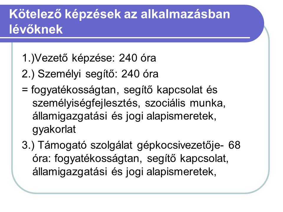 Kötelező képzések az alkalmazásban lévőknek 1.)Vezető képzése: 240 óra 2.) Személyi segítő: 240 óra = fogyatékosságtan, segítő kapcsolat és személyisé