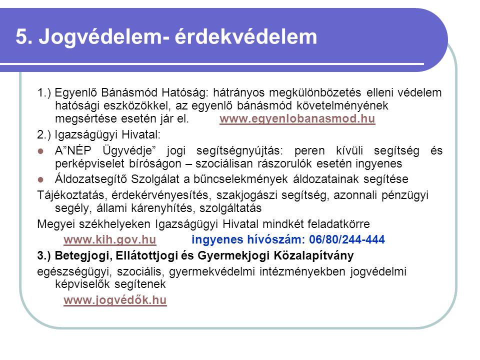 5. Jogvédelem- érdekvédelem 1.) Egyenlő Bánásmód Hatóság: hátrányos megkülönbözetés elleni védelem hatósági eszközökkel, az egyenlő bánásmód követelmé
