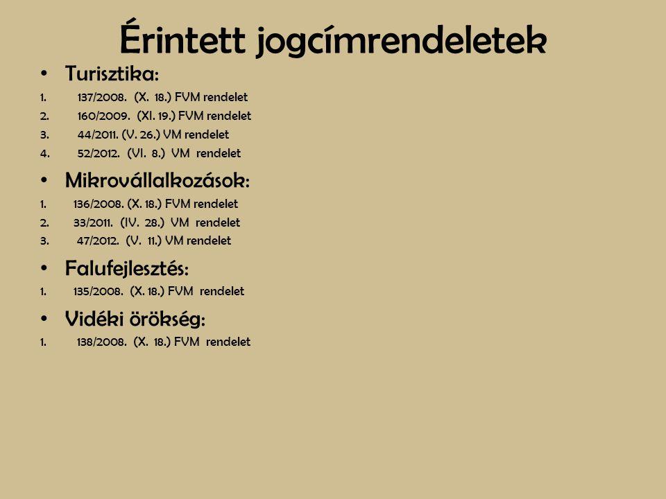 Érintett jogcímrendeletek Turisztika: 1.137/2008. (X. 18.) FVM rendelet 2.160/2009. (XI. 19.) FVM rendelet 3.44/2011. (V. 26.) VM rendelet 4.52/2012.