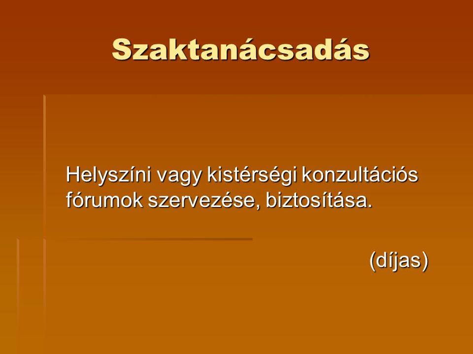 Szaktanácsadás Helyszíni vagy kistérségi konzultációs fórumok szervezése, biztosítása.
