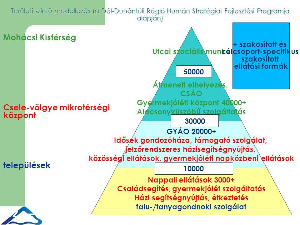 12 30000 + szakosított és célcsoport-specifikus szakosított ellátási formák Területi szintű modellezés (a Dél-Dunántúli Régió Humán Stratégiai Fejlesztési Programja alapján) 50000 10000 Mohácsi Kistérség Csele-völgye mikrotérségi központ települések