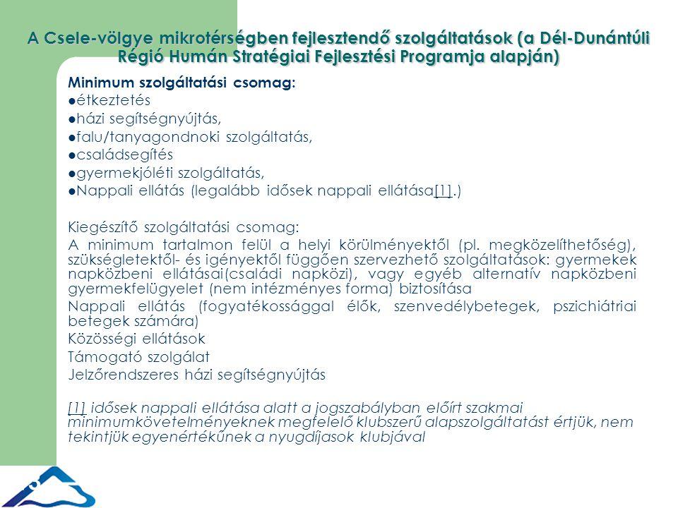 13 A Csele-völgye mikrotérségben fejlesztendő szolgáltatások (a Dél-Dunántúli Régió Humán Stratégiai Fejlesztési Programja alapján) Minimum szolgáltatási csomag: étkeztetés házi segítségnyújtás, falu/tanyagondnoki szolgáltatás, családsegítés gyermekjóléti szolgáltatás, Nappali ellátás (legalább idősek nappali ellátása[1].)[1] Kiegészítő szolgáltatási csomag: A minimum tartalmon felül a helyi körülményektől (pl.