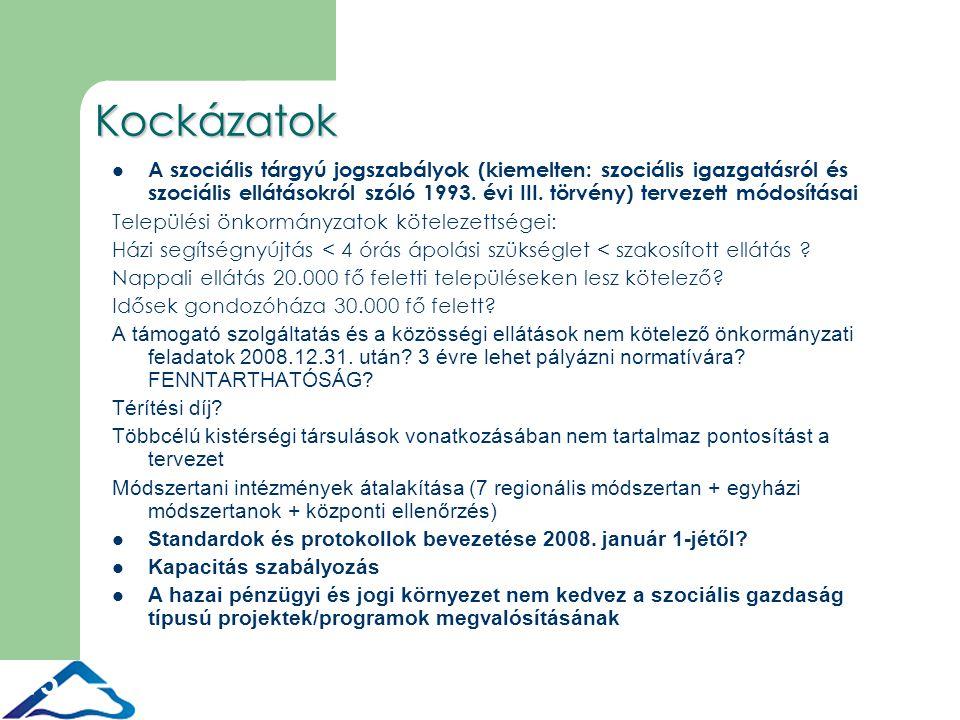 15 Kockázatok A szociális tárgyú jogszabályok (kiemelten: szociális igazgatásról és szociális ellátásokról szóló 1993.