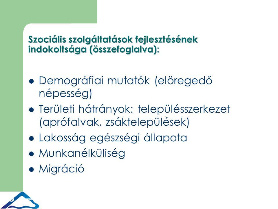 8 Szociális szolgáltatások fejlesztésének indokoltsága (összefoglalva): Demográfiai mutatók (elöregedő népesség) Területi hátrányok: településszerkezet (aprófalvak, zsáktelepülések) Lakosság egészségi állapota Munkanélküliség Migráció
