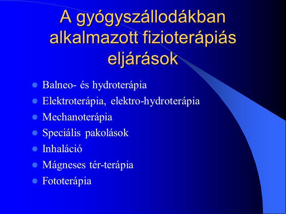 A gyógyszállodákban alkalmazott fizioterápiás eljárások Balneo- és hydroterápia Elektroterápia, elektro-hydroterápia Mechanoterápia Speciális pakolások Inhaláció Mágneses tér-terápia Fototerápia