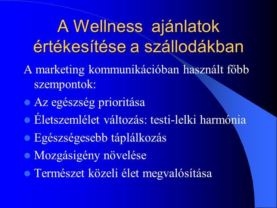 A Wellness ajánlatok értékesítése a szállodákban A marketing kommunikációban használt főbb szempontok: Az egészség prioritása Életszemlélet változás: testi-lelki harmónia Egészségesebb táplálkozás Mozgásigény növelése Természet közeli élet megvalósítása