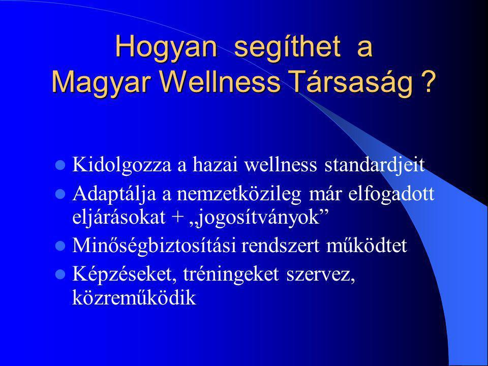 """Hogyan segíthet a Magyar Wellness Társaság ? Kidolgozza a hazai wellness standardjeit Adaptálja a nemzetközileg már elfogadott eljárásokat + """"jogosítv"""
