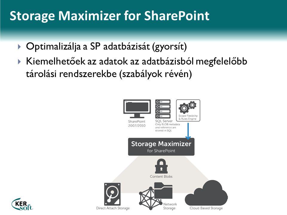 Storage Maximizer for SharePoint  Optimalizálja a SP adatbázisát (gyorsít)  Kiemelhetőek az adatok az adatbázisból megfelelőbb tárolási rendszerekbe (szabályok révén)