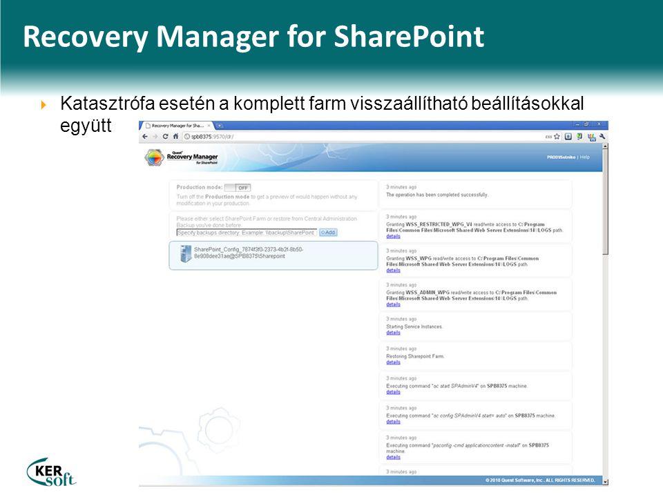 Recovery Manager for SharePoint  Katasztrófa esetén a komplett farm visszaállítható beállításokkal együtt