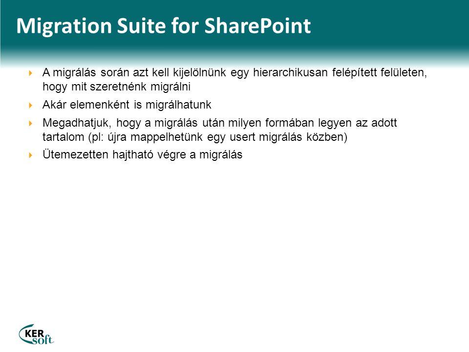 Migration Suite for SharePoint  A migrálás során azt kell kijelölnünk egy hierarchikusan felépített felületen, hogy mit szeretnénk migrálni  Akár elemenként is migrálhatunk  Megadhatjuk, hogy a migrálás után milyen formában legyen az adott tartalom (pl: újra mappelhetünk egy usert migrálás közben)  Ütemezetten hajtható végre a migrálás
