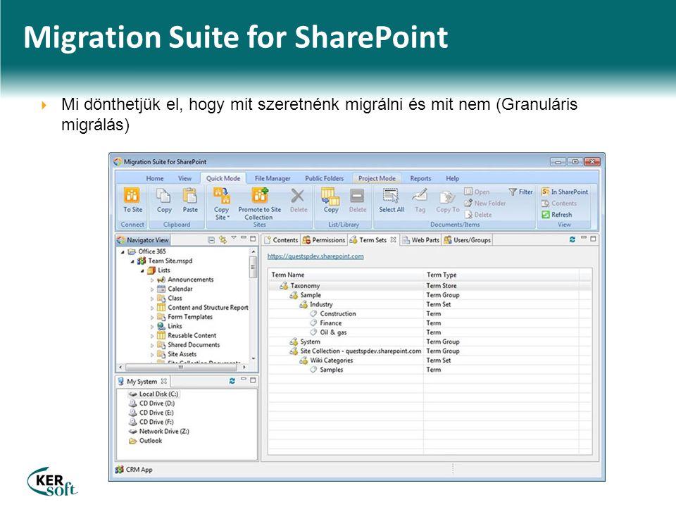 Migration Suite for SharePoint  Mi dönthetjük el, hogy mit szeretnénk migrálni és mit nem (Granuláris migrálás)