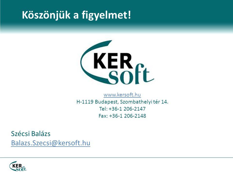 Köszönjük a figyelmet. www.kersoft.hu H-1119 Budapest, Szombathelyi tér 14.