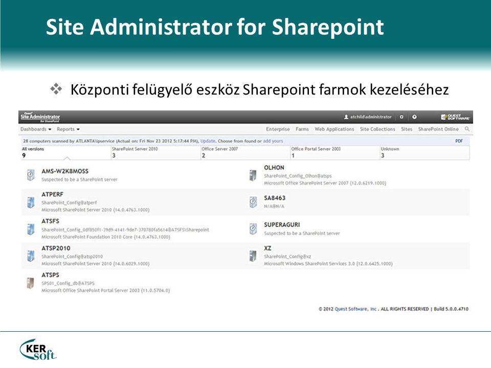  Központi felügyelő eszköz Sharepoint farmok kezeléséhez