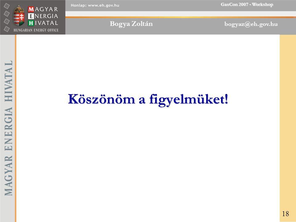 Bogya Zoltán bogyaz@eh.gov.hu GasCon 2007 - Workshop Köszönöm a figyelmüket! 18
