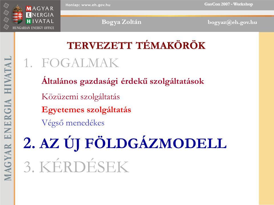 Bogya Zoltán bogyaz@eh.gov.hu GasCon 2007 - Workshop TERVEZETT TÉMAKÖRÖK 1.FOGALMAK Általános gazdasági érdekű szolgáltatások Közüzemi szolgáltatás Egyetemes szolgáltatás Végső menedékes 2.