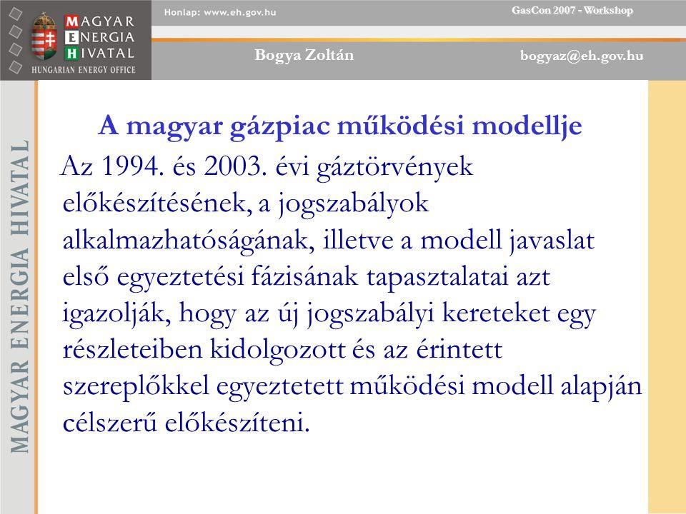 Bogya Zoltán bogyaz@eh.gov.hu GasCon 2007 - Workshop A magyar gázpiac működési modellje Az 1994.